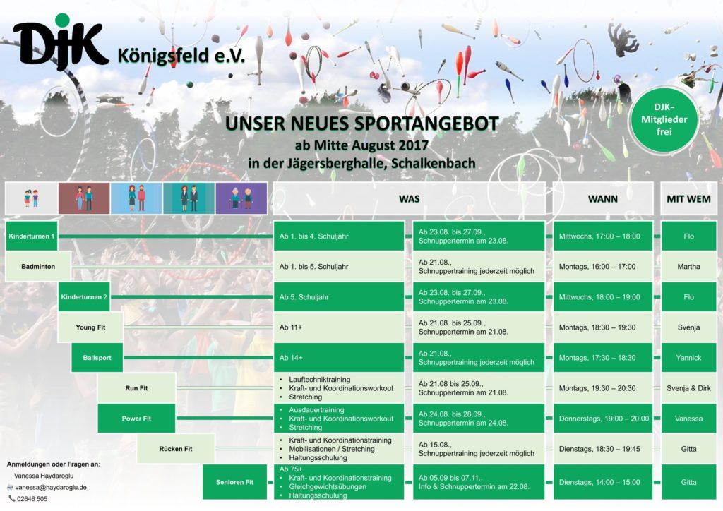 Der neue Kursplan der DJK Königsfeld - zum Vergrößern anklicken...