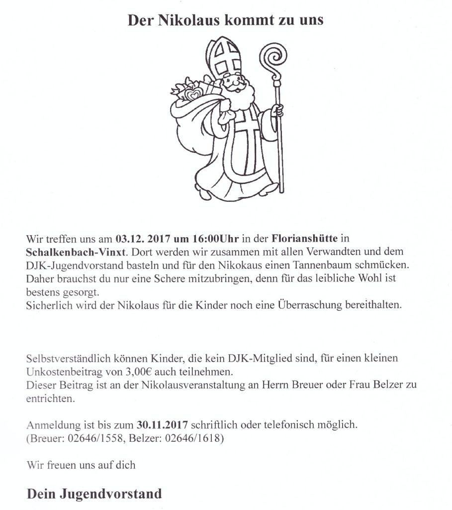 Nikolausfeier am 3. Dezember 2017