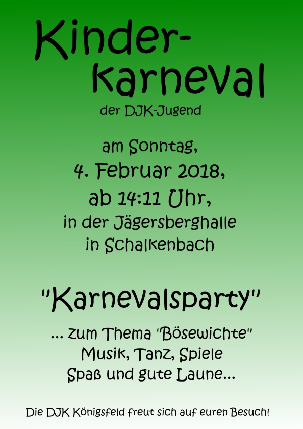 Kinderkarneval der DJK Königsfeld