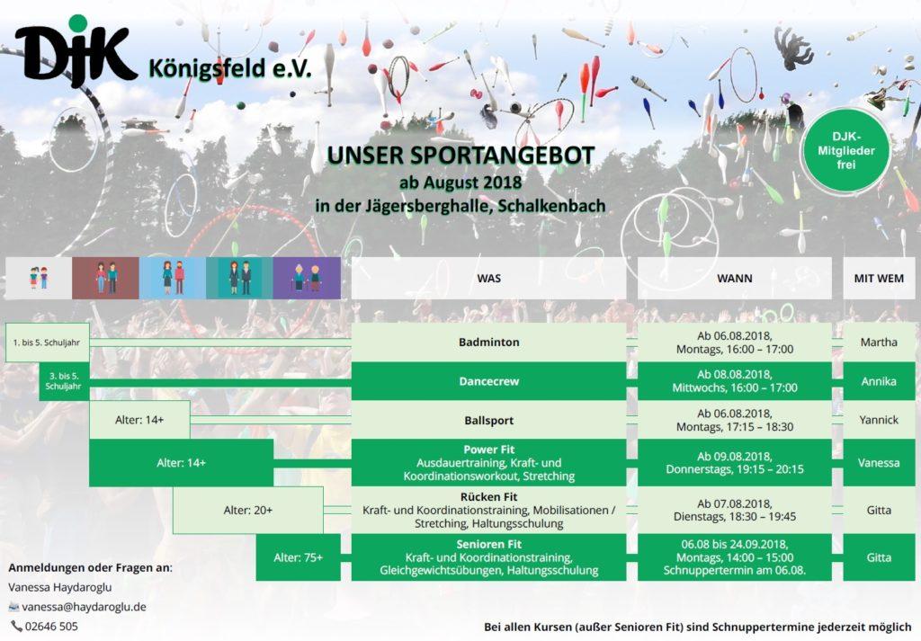 Sportprogramm der DJK Königsfeld 2018 - zum Vergrößern anklicken...
