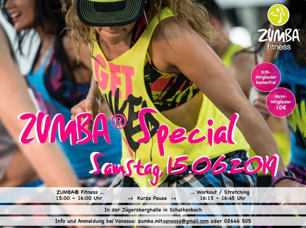 Das nächste Zumba®-Special der DJK Königsfeld mit Vanessa findet am Samstag, dem 15.06.2019 ab 15 Uhr in der Schalkenbacher Jägersberghalle statt